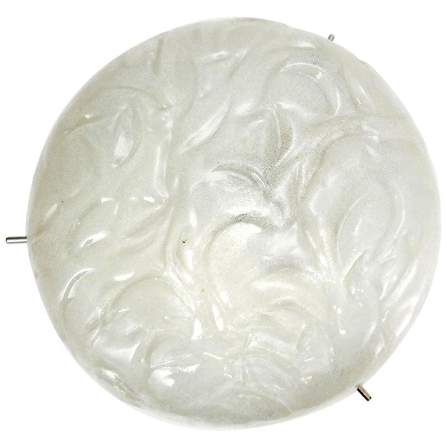 Heavy Pressed Frosted Glass Ceiling Light, in the Manner of Kalmar, 1970s