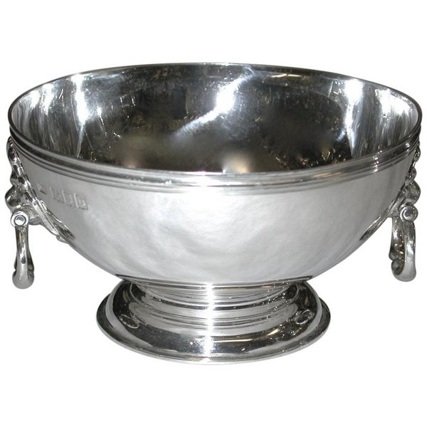Heavy Quality Bowl With Lion Mask Handles on Collet Foot, 1917, London
