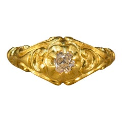 Heavy Quality Victorian Gypsy Set Diamond Ring in 18 Carat Yellow Gold