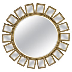 Heavy Round Brass or Bronze Sunburst Wall Mirror with Rope Edges