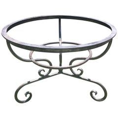Heavy Round French Polished Steel Table Base
