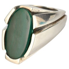 Heavy Signed Wesley Emmons Modernist Sterling Silver and Malachite Signet Ring