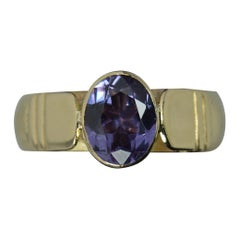 Heavy Solid 14ct Gold and Amethyst Solitaire Statement Ring