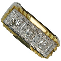 Heavy Solid 18 Carat Gold and Diamond Trilogy Band Ring