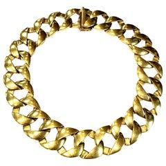 Heavy Solid 18 Karat Yellow Gold Round Link Necklace