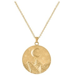 Heavy Solid Gold Moon and Stars Pendant, 14 Karat Yellow Gold, Solid Gold Chain