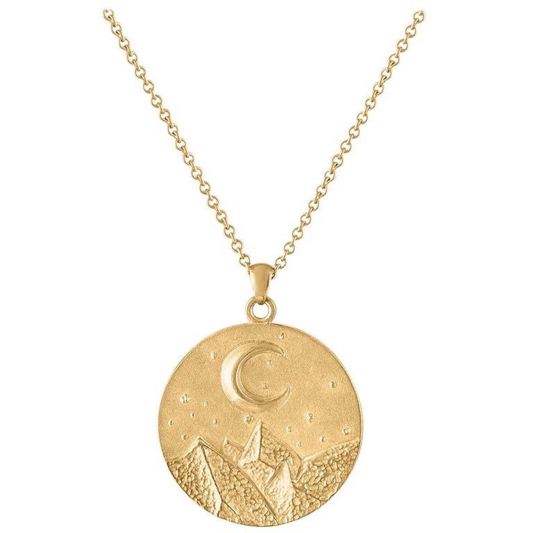 Heavy Solid Gold Moon and Stars Pendant, 14 Karat Yellow Gold, Solid Gold Chain For Sale