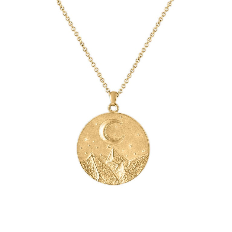 Heavy Solid Gold Moon and Stars Pendant, 14 Karat Yellow Gold, Solid Gold Chain In New Condition For Sale In New York, NY