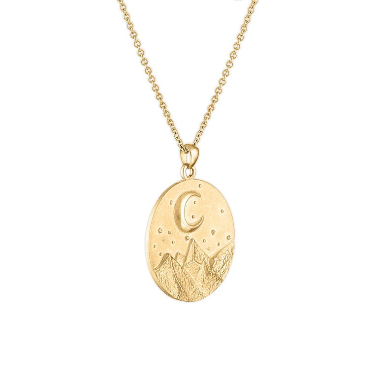 Women's or Men's Heavy Solid Gold Moon and Stars Pendant, 14 Karat Yellow Gold, Solid Gold Chain For Sale