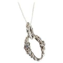 Heavy Solid Sterling and Diamond Necklace with Gold Chain
