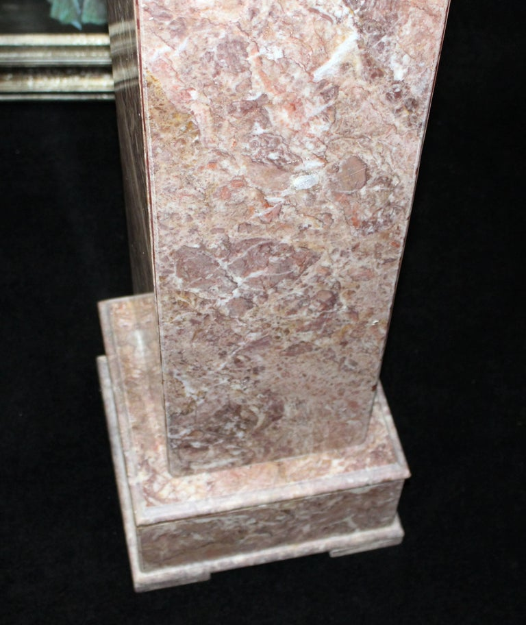 20th Century Heavy Square Rouge Marble Pedestal For Sale