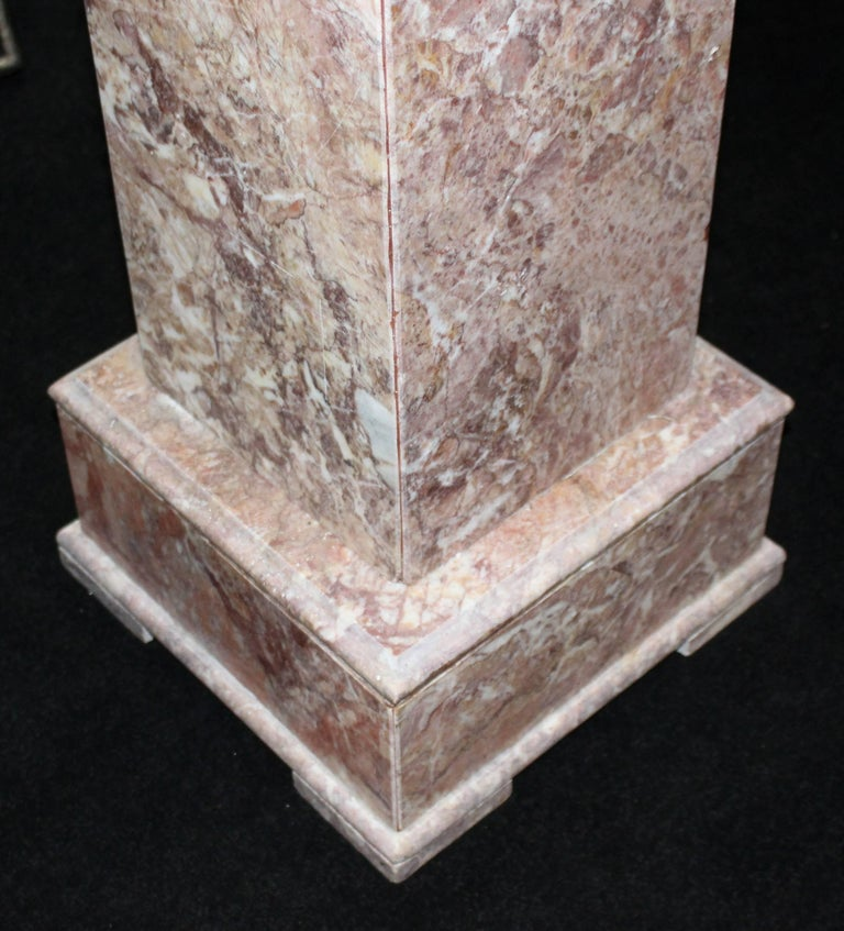 Heavy Square Rouge Marble Pedestal For Sale 1