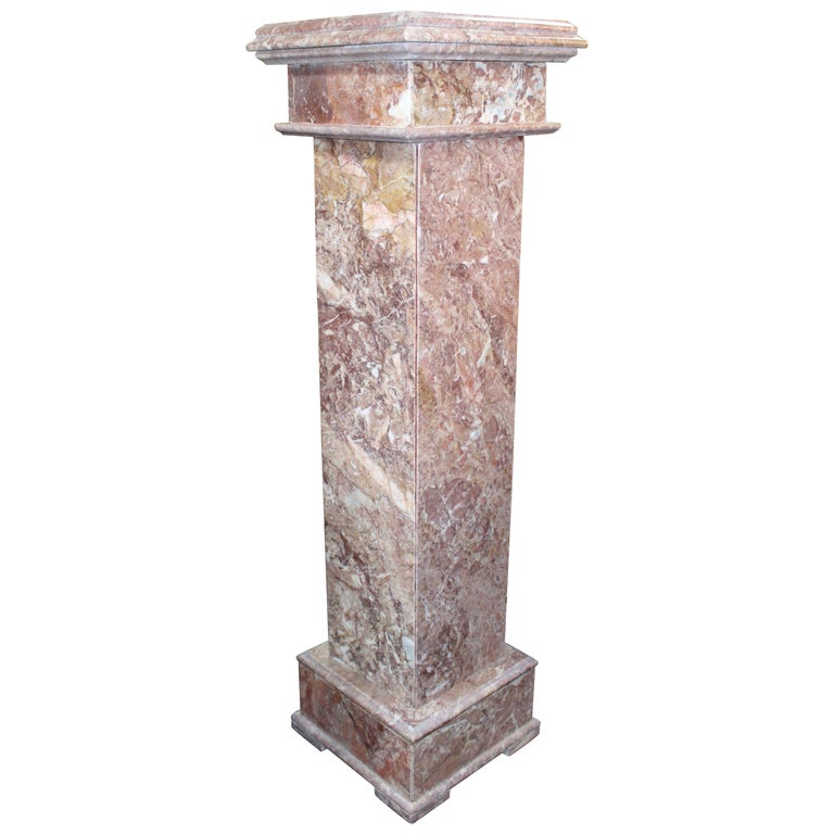 Heavy Square Rouge Marble Pedestal For Sale