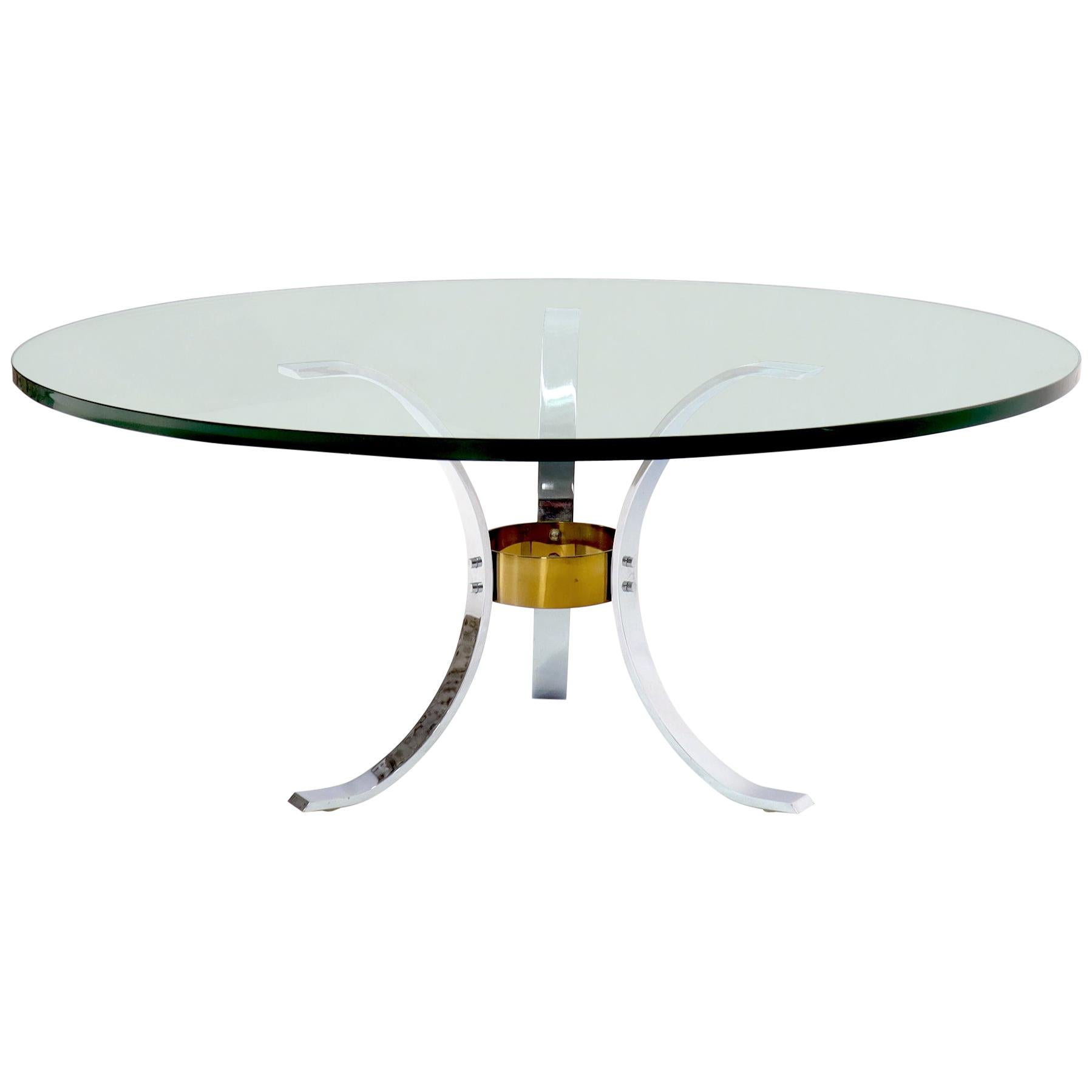 """Heavy Thick 3/4"""" Glass Round Top Chrome & Brass Tripod Base Coffee Table"""