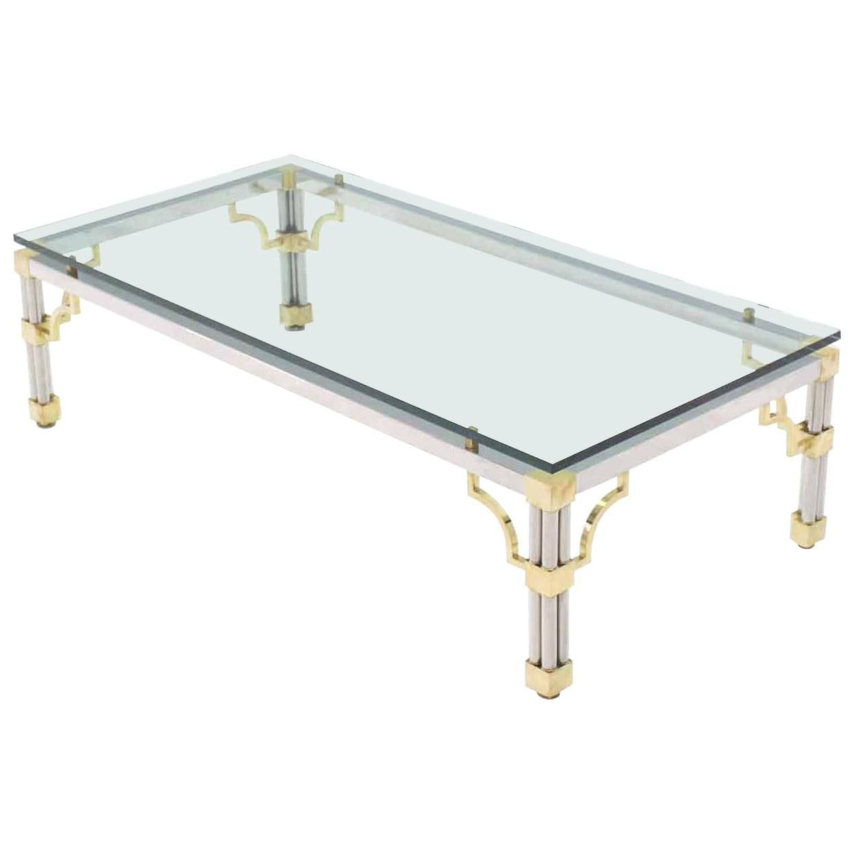 Heavy Thick Glass Brass and Chrome Coffee Table