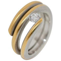 Heavy Twisted Tension Ring 950 Platinum and 21.6 Karat Gold