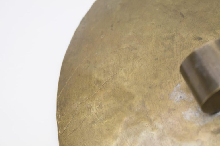 Heavy Unique Bronze Hand Beaten Tripod Bowl, 1950s For Sale 4