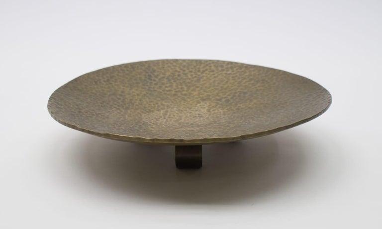 Austrian Heavy Unique Bronze Hand Beaten Tripod Bowl, 1950s For Sale