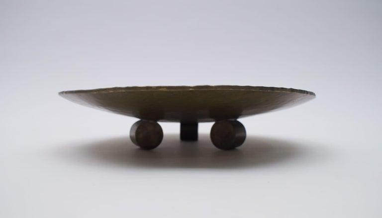 Hammered Heavy Unique Bronze Hand Beaten Tripod Bowl, 1950s For Sale