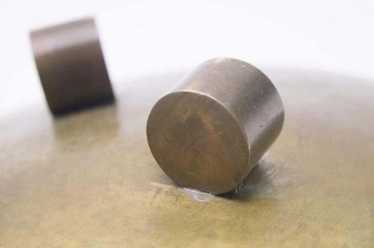 Heavy Unique Bronze Hand Beaten Tripod Bowl, 1950s For Sale 2