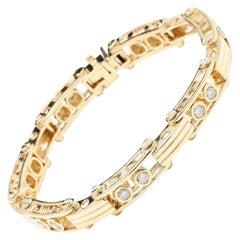 Heavy Very Impressive 3.35 Ct Natural VS Diamond 14K Solid Yellow Gold Bracelet