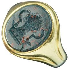 Heavy Victorian 18 Carat Gold Bloodstone Wheatsheaf Intaglio Seal Signet Ring
