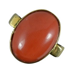 Heavy Vintage 18 Carat Gold and Single Coral Solitaire Statement Ring