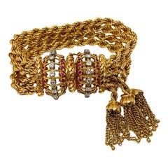 Heavy Wide Rope Tassel Diamond & Ruby Estate Bracelet 18k 138 Grams