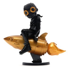 Hebru Brantley Flyboy black & gold (Hebru Brantley black flyboy)