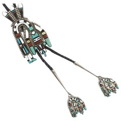 Navajo Sterling Coral Turquoise Onyx Bolo Jewelry By Hecili Icion Estate CCBOLO1
