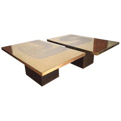 Heckscher Pair of Mid-Century  Modern Brass Coffee Tables