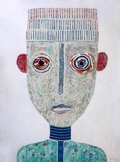 Acrylic & Collage Cuban Figurative Portrait