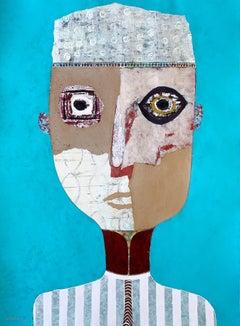 Bright Teal Mixed Media Figurative Portrait