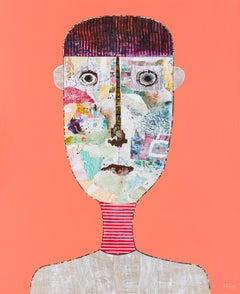 Coral Pastel Figurative Portrait