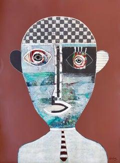 Hector Frank, Cuban Mixed Media Figurative Portrait