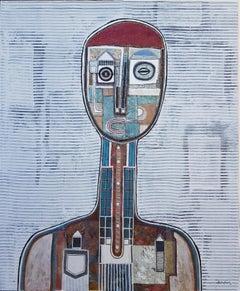Hector Frank, Untitled Cuban Striped Figurative Portrait