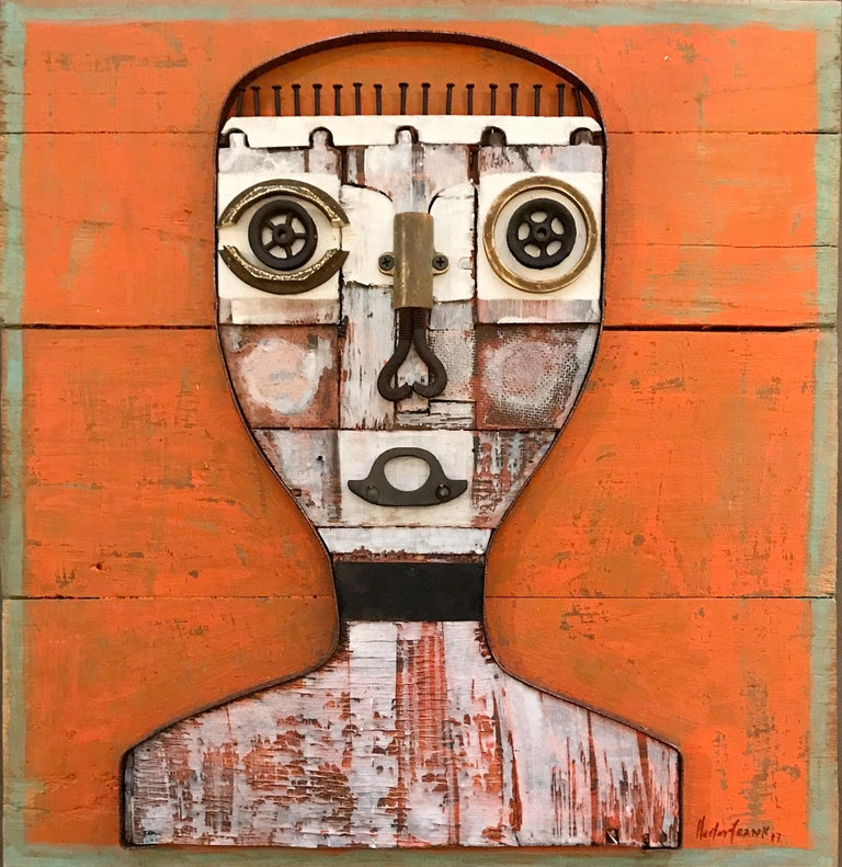 Hector Frank, Untitled Cuban Textured Orange Wood Portrait - Mixed Media Art by Hector Frank