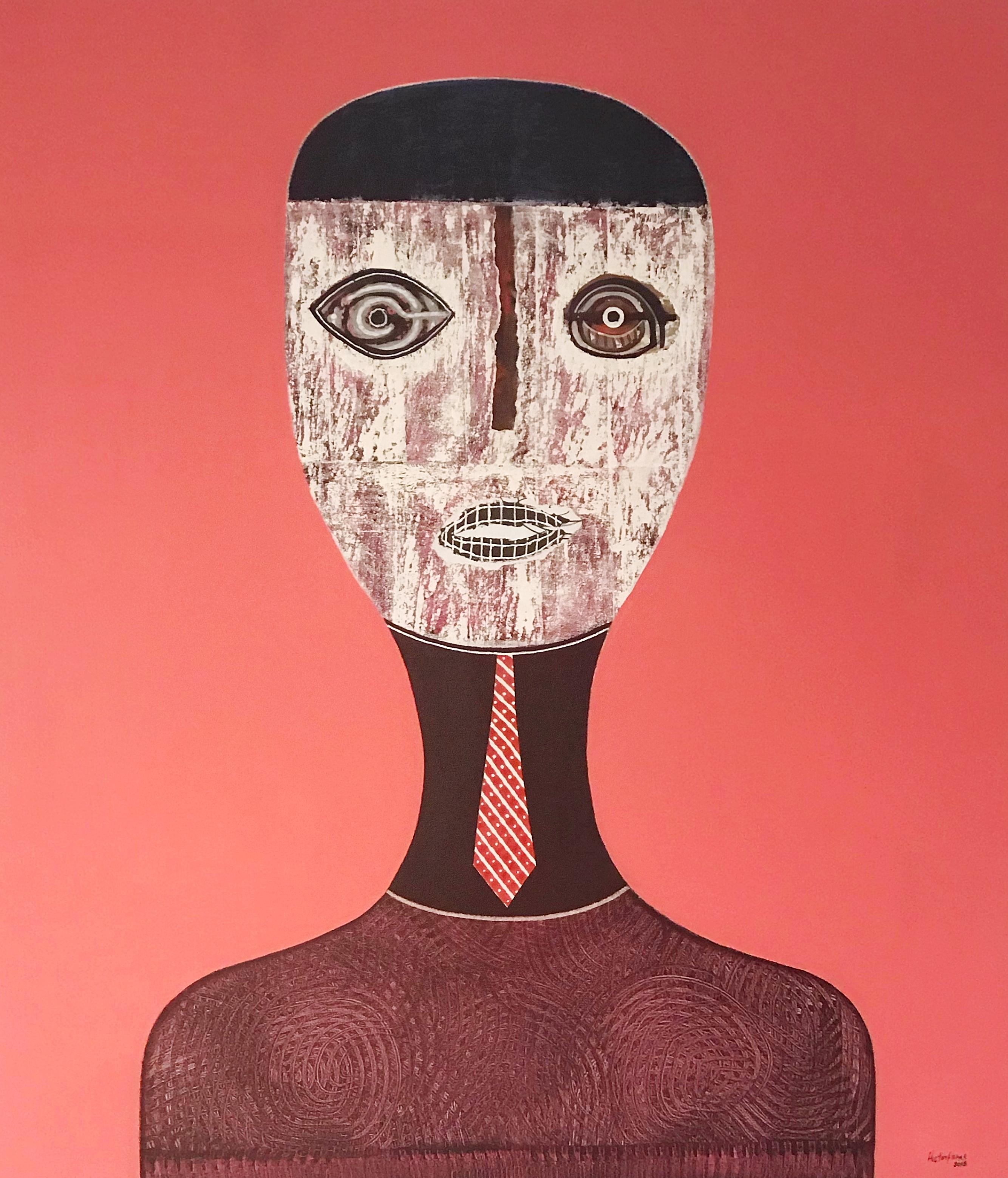 Hector Frank, Untitled Pink Figurative Portrait