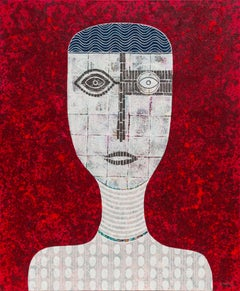 Hector Frank - 'Untitled Portrait' - Mixed Media Figurative Painting