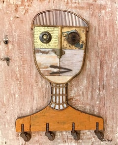 Textured Figurative Wood Portrait