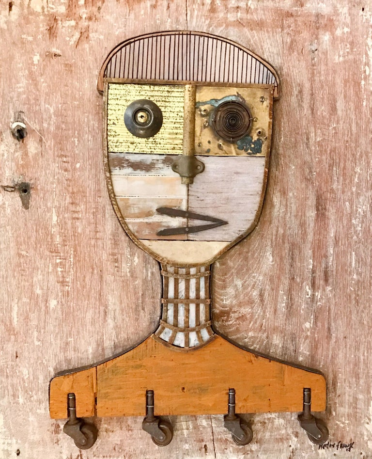 Textured Figurative Wood Portrait - Mixed Media Art by Hector Frank