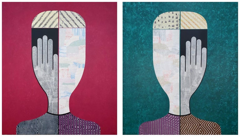 'Untitled Portrait' Abstract Figurative Diptych  - Mixed Media Art by Hector Frank