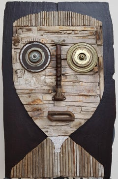 'Untitled Portrait' Hector Frank Cuban Mixed Media Brown Wood Portrait