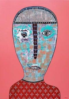 Untitled Portrait Pastel Pink Latin American Figurative Painting