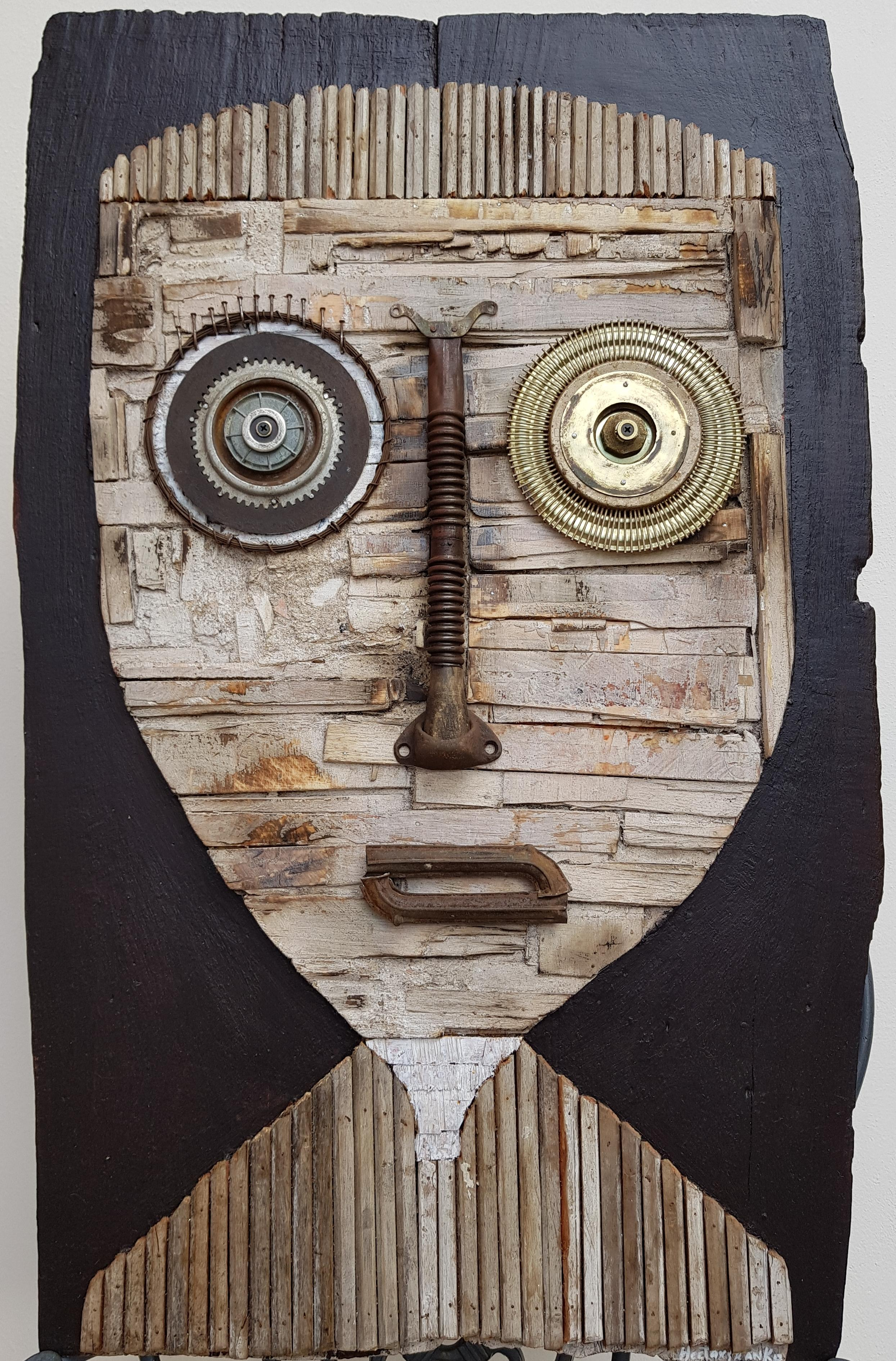 'Untitled Portrait' Sculpture of a mix of reclaimed wood, machinery, and paint.