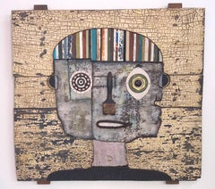 Untitled Portrait - Wood & Reclaimed Object Sculpture by Hector Frank