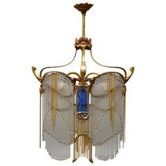 Hector Guimard Art Nouveau Drop Crystal and Bronze Chandelier