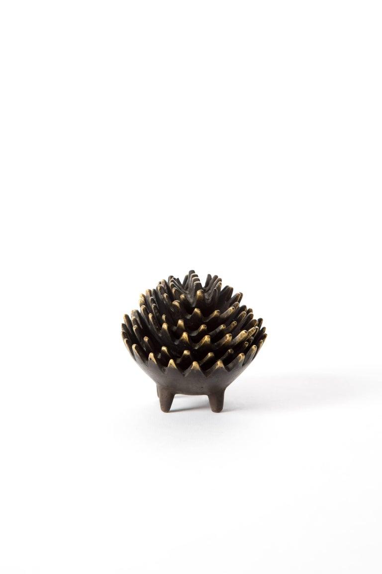 Mid-Century Modern Hedgehog with Her Kids Walter Bosse Blackened Brass with Hertha Baller For Sale
