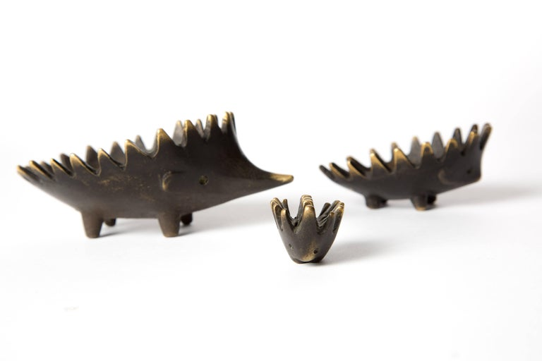 Hedgehog with Her Kids Walter Bosse Blackened Brass with Hertha Baller For Sale 2