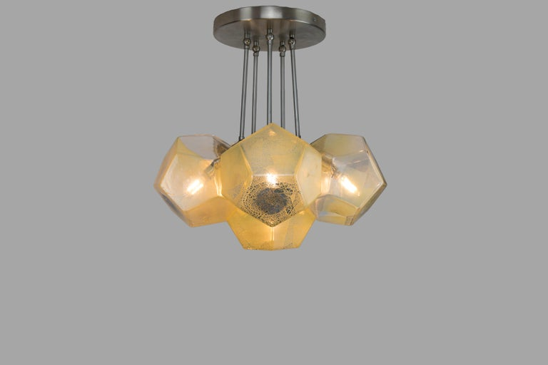 Modern Hedron Series Chandelier in Silver Leaf, Handmade Contemporary Glass Lighting For Sale